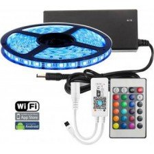 Banda cu leduri de interior Wireless Light Strip LED RGB TarTek T5, 5m, control inteligent WIFI si telecomanda