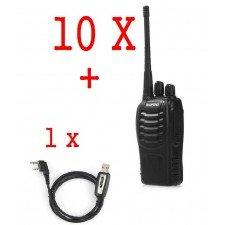 Set 10 statii radio portabile emisie receptie PROGRAMATE in banda de licenta libera, Walkie Talkie, Baofeng BF-888, cu cablu pentru programare prin PC