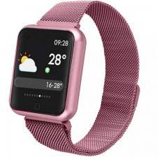 Ceas Smart MediaTek M68 Pink, senzor puls, tensiune arteriala