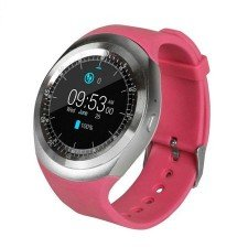 Ceas Smartwatch MediaTek Y1 Pink, Ecran Touchscreen, Bluetooth, SIM Notificari, Pedometru