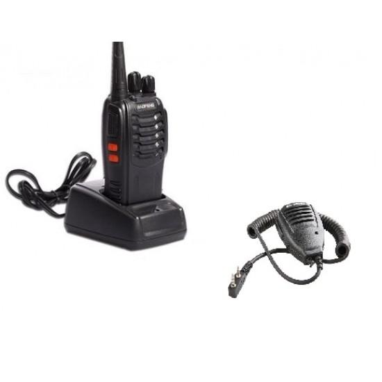 Statie radio portabila emisie receptie, Walkie Talkie, Baofeng BF-888, cu microfon extern (speaker)