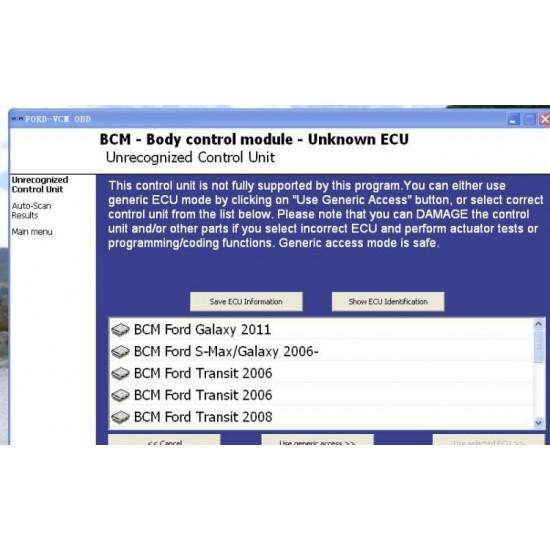 Ford VCM OBD, Interfata Diagnoza Ford 1996- 2011