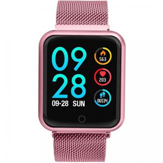 Ceas Smart TarTek M68 Pink, senzor puls, tensiune arteriala