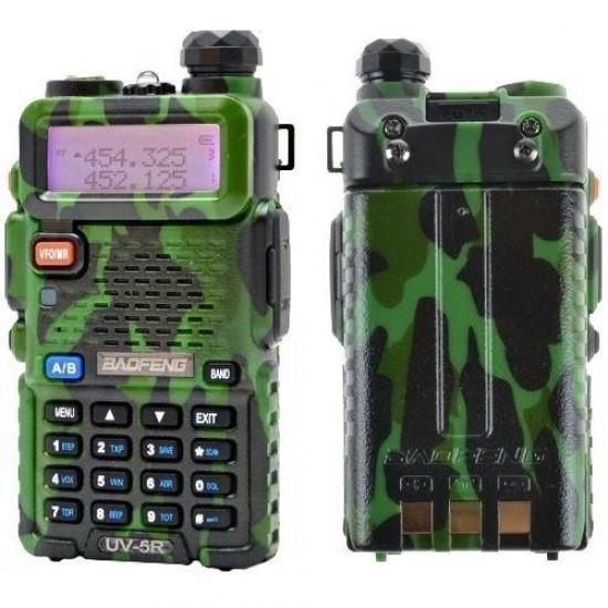 Statie radio portabila emisie receptie, Walkie Talkie Baofeng UV-5R, 5W camuflaj, editie army, 136 - 174 MHz / 400-520 Mhz