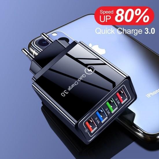 Incarcator Retea, Incarcator Priza, 4x USB TarTek Quick Charge 3.0, Ultra Fast Charge Negru Incarcare Rapida 3.1A Output Material Ignifug Cip Protectie Temperatura Ridicata