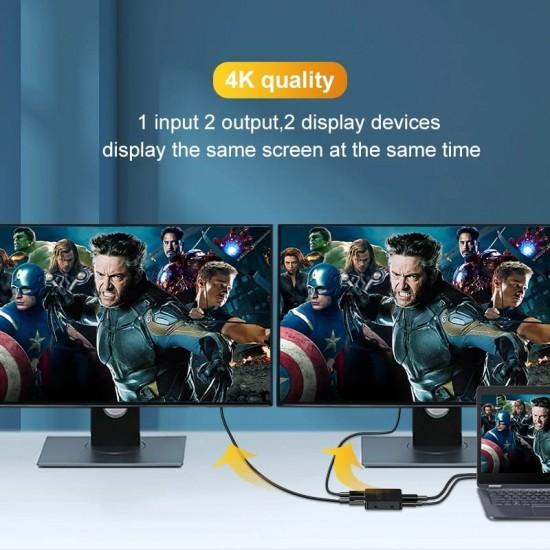 Splitter HDMI TarTek cu 2 porturi, 1 intrare - 2 iesiri, 3D, 4K x 2K, FULL HD, alimentare cablu USB, vizionare 2 monitoare in acelasi timp