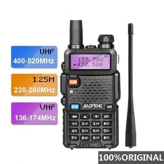 Statie Radio Walkie Talkie Baofeng UV-5R III, 5W, 5-8km, 7.4V, Dual Band Transceiver, 128 canale, Microfon