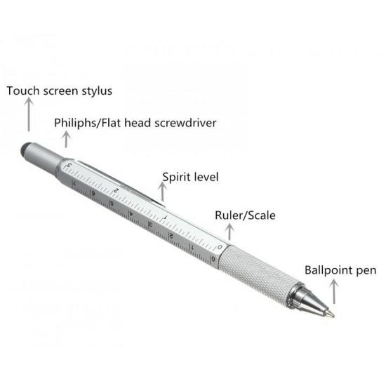 Unealta multifunctionala tip pix 6 in1, argintiu, Rigla, 2 Surubelnite, Touchscreen Pen, Nivela cu Bula, TarTek