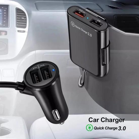Incarcator auto TarTek Dual USB, 2x 2.4A, 2X3.1A, 1x Quick Charge 3.0, 1.7m, Black