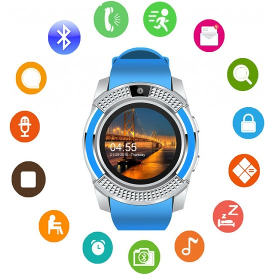 Ceas Smartwatch TarTek™ V8, camera foto, cartela sim, blue
