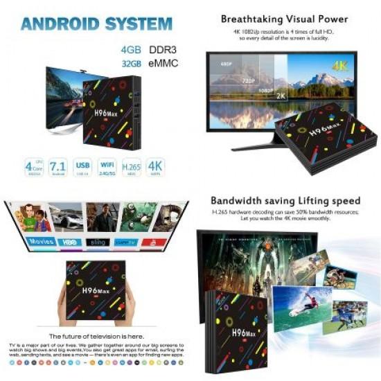 Mini PC TV Box H96 Max H2, 4K, Quad-Core, 4GB RAM, 64 GB, WiFi, Bluetooth USB 3.0