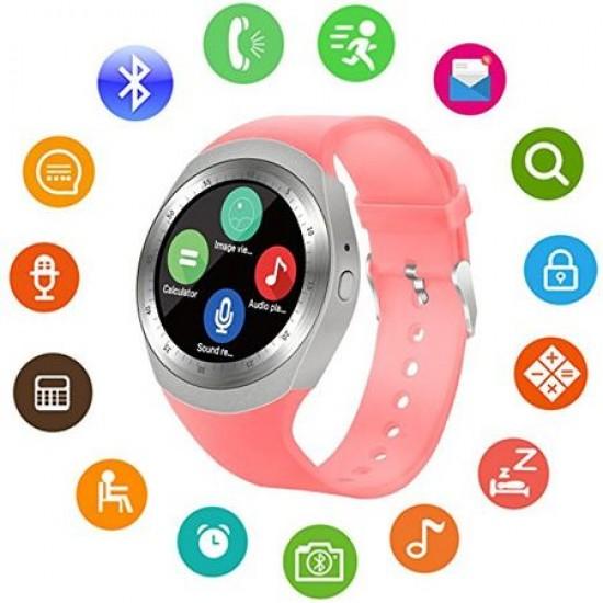 Ceas Smartwatch TarTek™ Y1 Pink, Ecran Touchscreen, Bluetooth, SIM Notificari, Pedometru