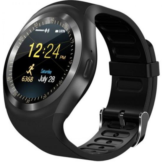 Ceas Smartwatch TarTek™ Y1 Black, Ecran Touchscreen, Bluetooth, SIM Notificari, Pedometru
