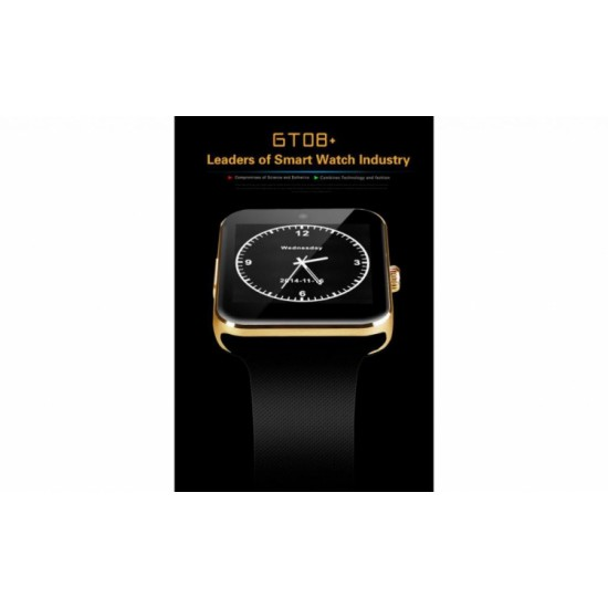 SmartWatch metalic TarTek™ GT08 telefon camera pedometru bluetooth microsim (optional) Gold Edition