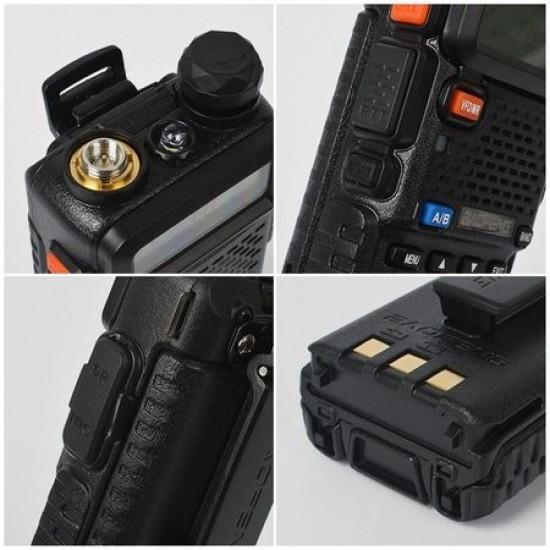 Set 2 bucati Statie radio portabila Baofeng UV-5R-BF Putere 8W, Dual Band VHF/UHF 136 - 174 MHz / 400-520 Mhz, casti cu microfon inclus